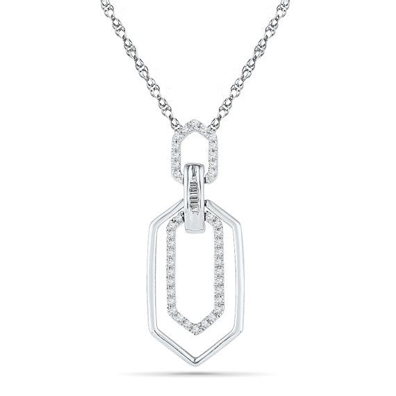 Crafted in your choice of metal this diamond shaped pendant crafted in your choice of metal this diamond shaped pendant necklace will be your new favorite piece three open shapes are connected and adorned aloadofball Image collections