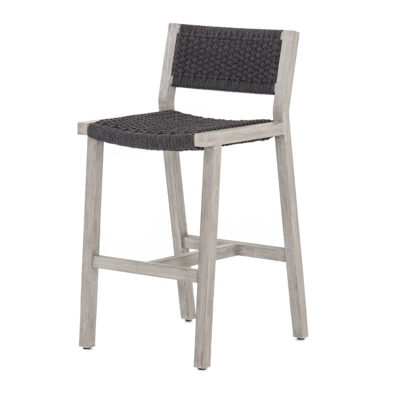 Delano Grey Teak Outdoor Rope Bar Stool Bar Furniture Bar