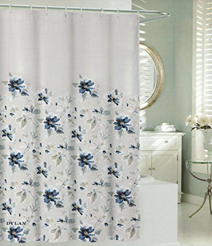 Max Studio Cotton Shower Curtain Botanical Nature Floral Branches Design Floral Blossom Navy Blue Grey Turquo Cotton Shower Curtain Branch Design Floral Branch
