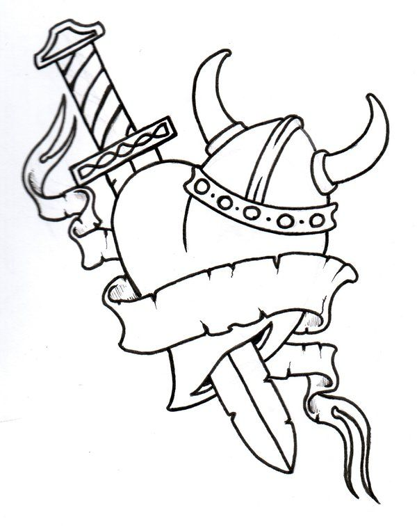 Love Tattoo Outlines: Tattoo Flash Outlines Heart Viking Heart Outline By
