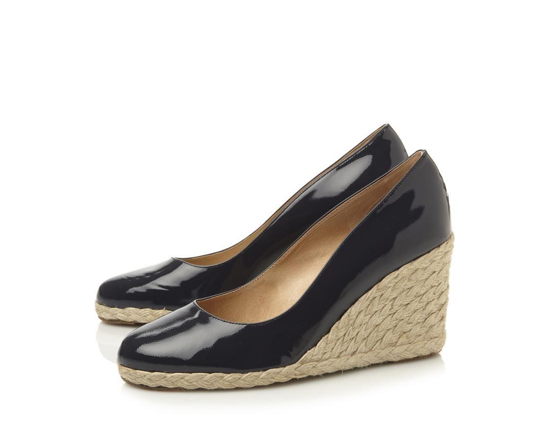 73e5e56c3 Pied a Terre Ladies Brown ANNATO - Patent Espadrille Wedge Pump   Dune  Shoes Online