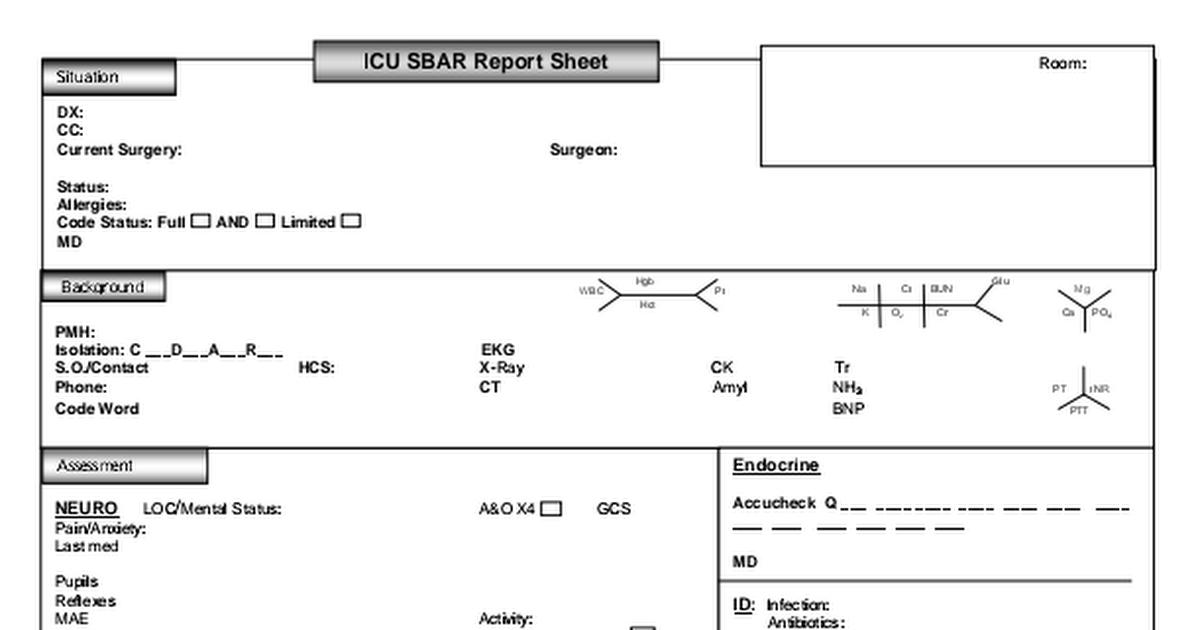 Icu Sbar Report Sheet 5 5 12pdf Nursing Documentation Tools