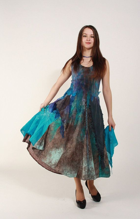 3956f13889 Felted dress Ocean blue brown Bohemian wedding dress Bridesmaids dress Wool silk  dress Maxi blue dress Alternative wedding gown Beach dress