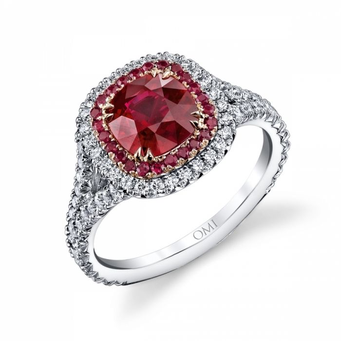 Superb Ruby U Diamond Ring