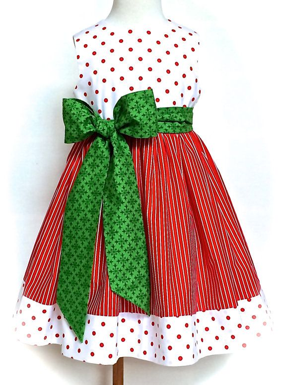 d29342ce3176 Little Girls Christmas Dress Toddlers Christmas Dress Classic Red, White,  and Green Dress Sizes 2T - 6 by 8thDayStudio