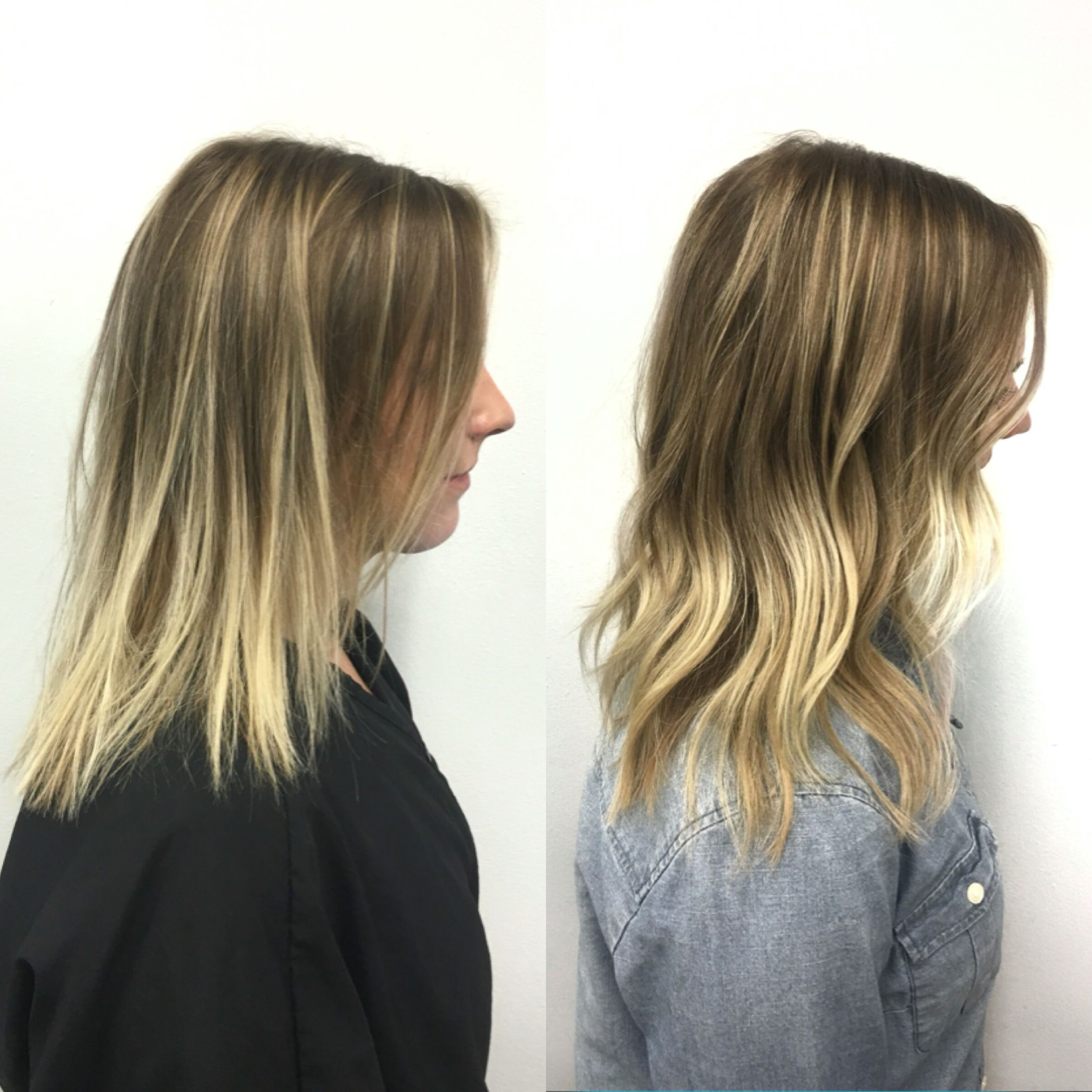 Before and after volume hair extensions by Cassandra at salon