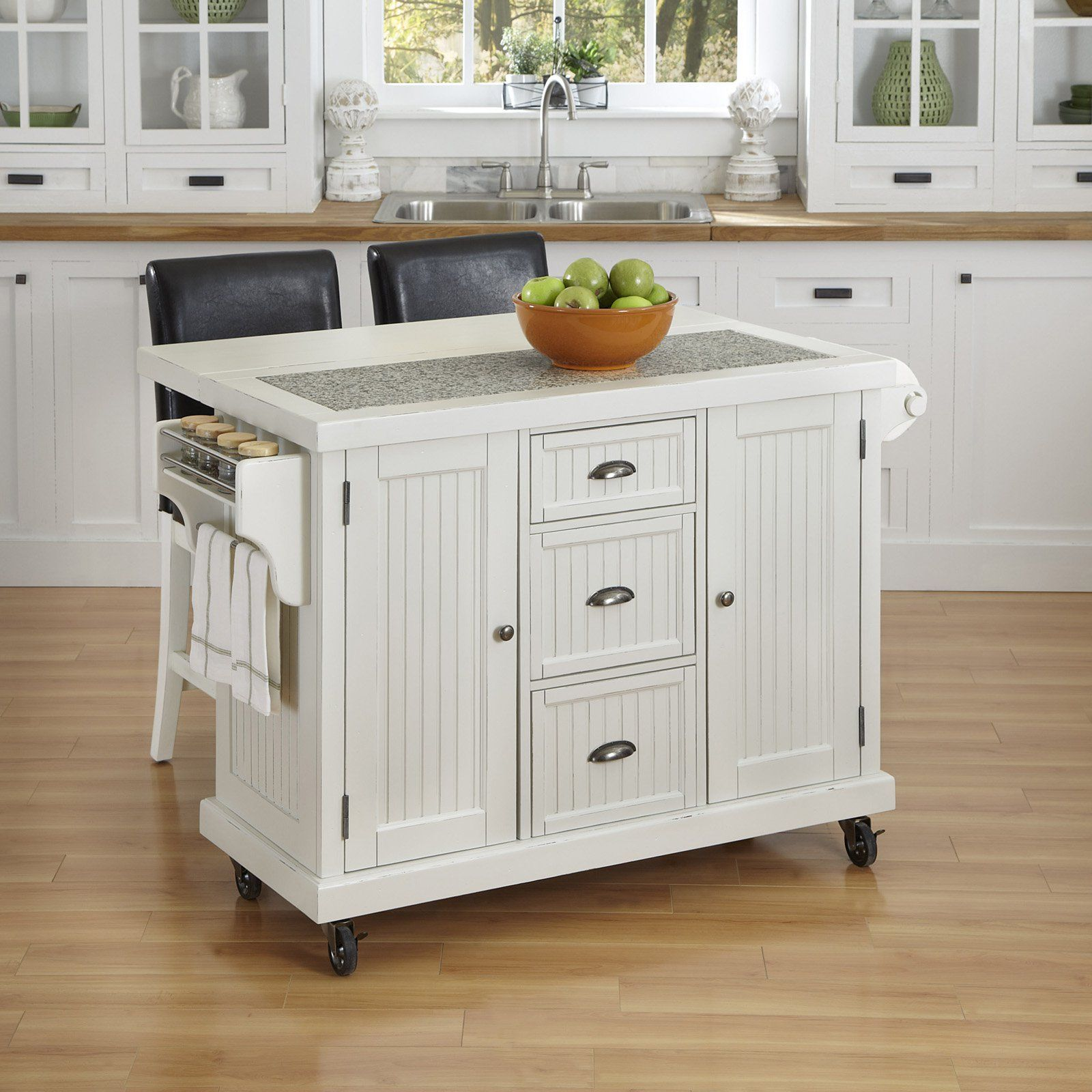 Have To Have It Home Styles Nantucket Distressed White 3 Piece Kitchen Cart And Two Stools Set 991 19 Distressed Kitchen White Kitchen Cart Kitchen Trends