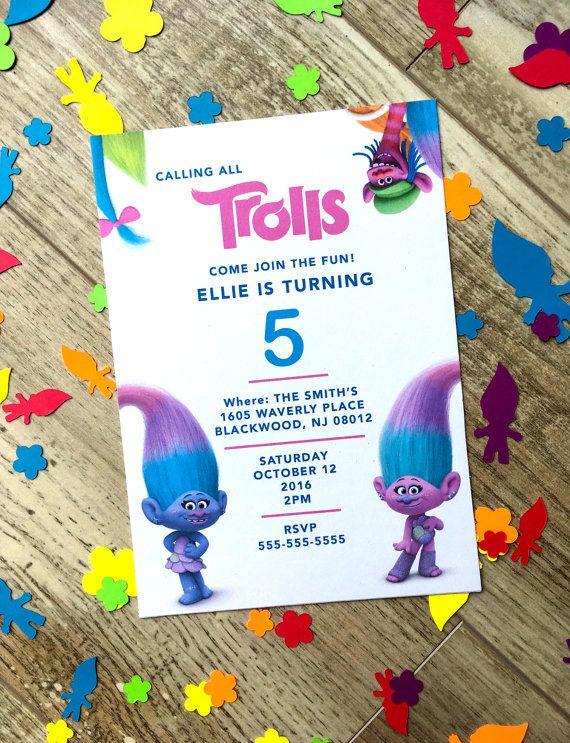 Druckbare Digitale PDF Trolle Geburtstags Party Einladung! Super Niedliche  Charaktere,
