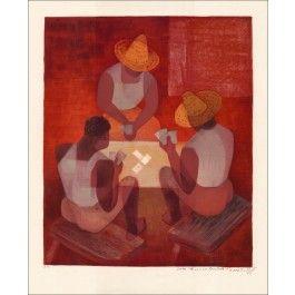 """TOFFOLI Louis - Lithographie Originale """"Joueurs de cartes à Bahia"""""""