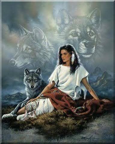 lobos y doncella india
