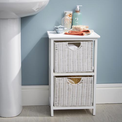 White Wood Wicker Style Bathroom Drawer Unit 2 Drawer In 2020 Bathroom Furniture Storage Bathroom Storage Units Drawer Unit