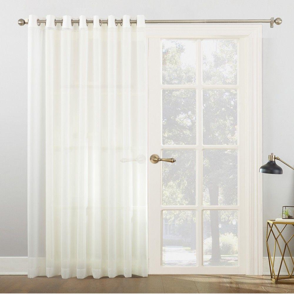 Emily Sheer Voile Sliding Door Patio Curtain Panel Ivory 100 X84 No 918 Sliding Door Curtains Patio Door Curtains Panel Curtains