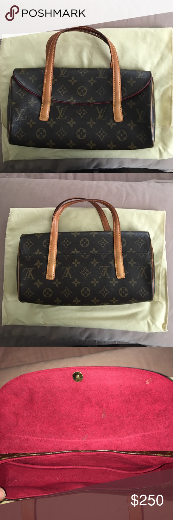0c0ae257b0b0 Louis Vuitton monogram sonatine flap handbag Cute small LV mini bag hand  held or carry in