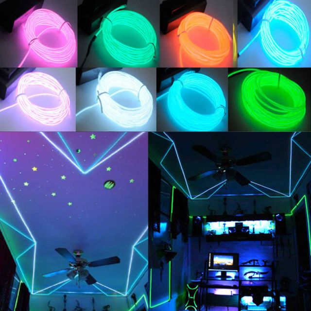1//2//3//4//5M Flexible LED Neon Light Glow EL Wire Rope tape Cable Strip Decoration