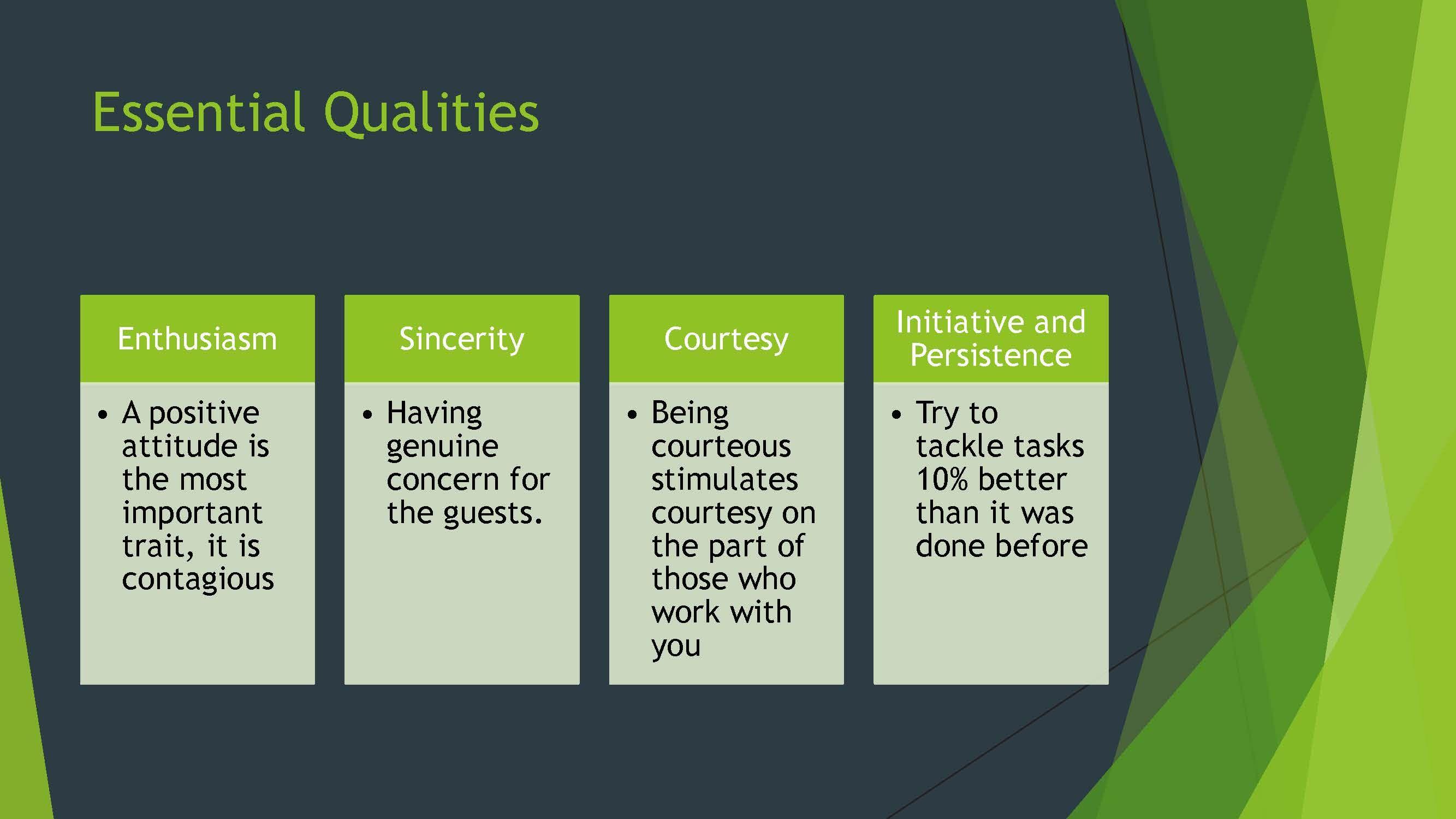Restaurant server's essential qualities presentation