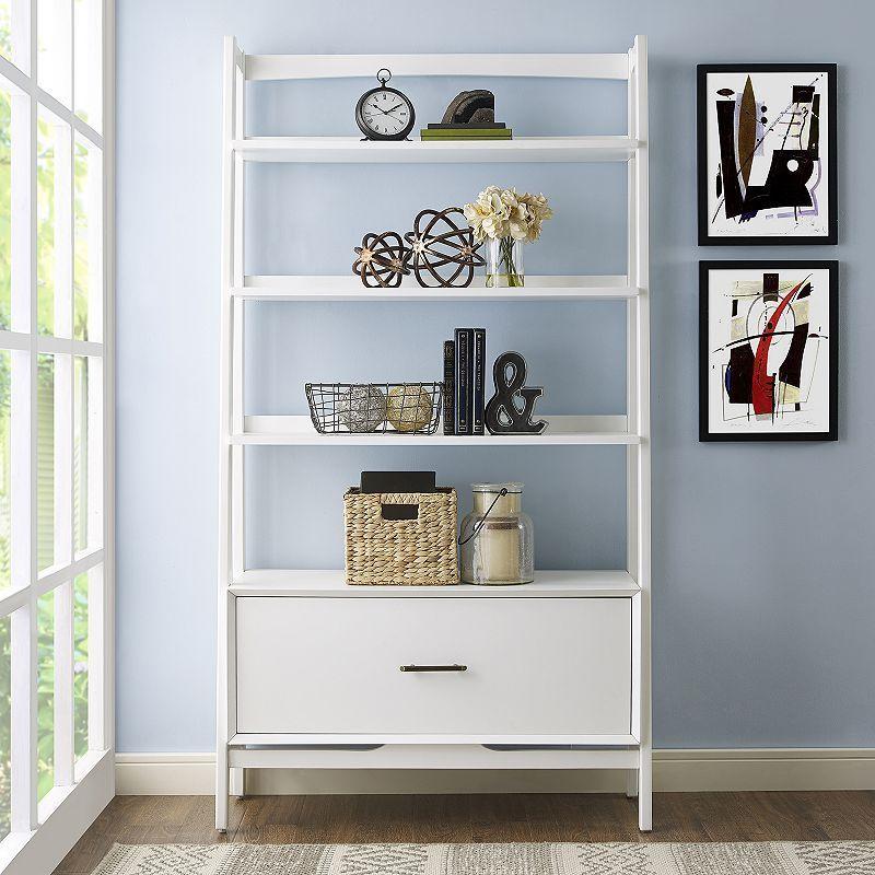 image ladder bookshelf design simple furniture. Crosley Furniture Landon Small Ladder Bookshelf, White Image Bookshelf Design Simple A