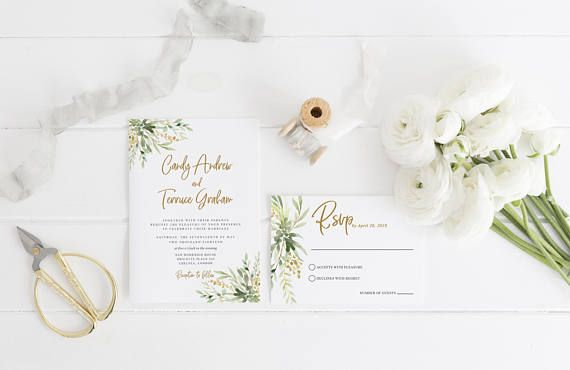 Invitation Template Word Adorable Wedding Invitation Template Greenery Green Leaves Watercolor .
