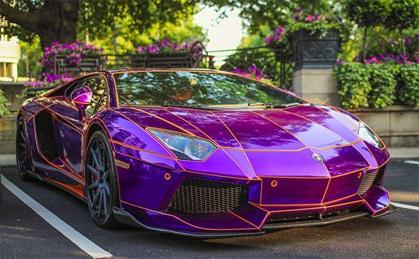 Purple Chrome 'TRON' Lamborghini Aventador | Life is ahead ...