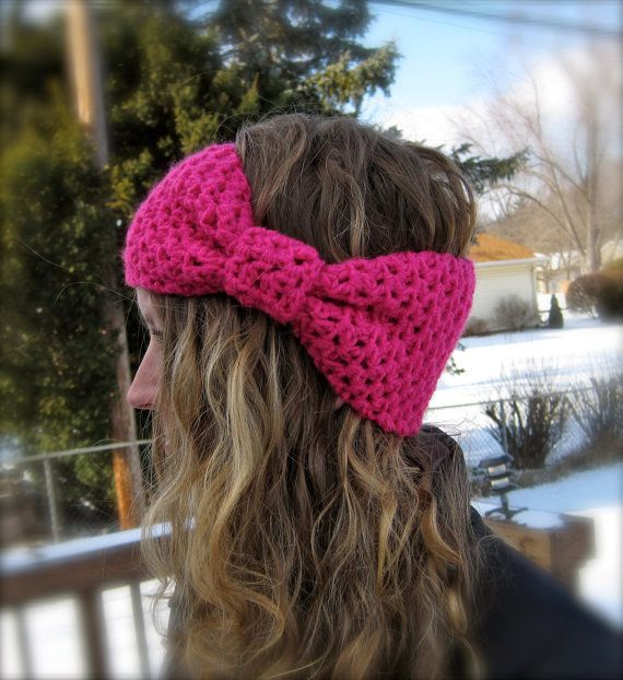 Bow Ear warmer, hair band, head band, crochet, pink, hot pink ...