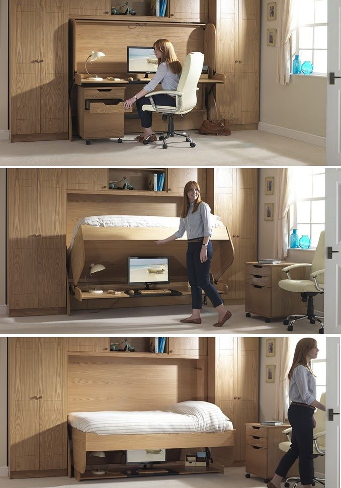 Bed Desk Combos Save Space And Add Interest To Small Rooms Murphy Bed Desk Tiny House Storage Home Office Design