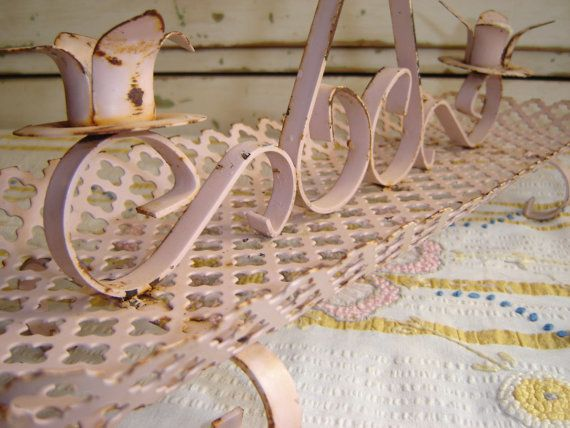 Shabby Cottage Pink Iron Mid Century Candle by VintageIdeology