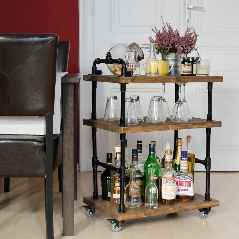 DIY Plumbing Pipe Bar Cart Book Shelf Ideas Pinterest