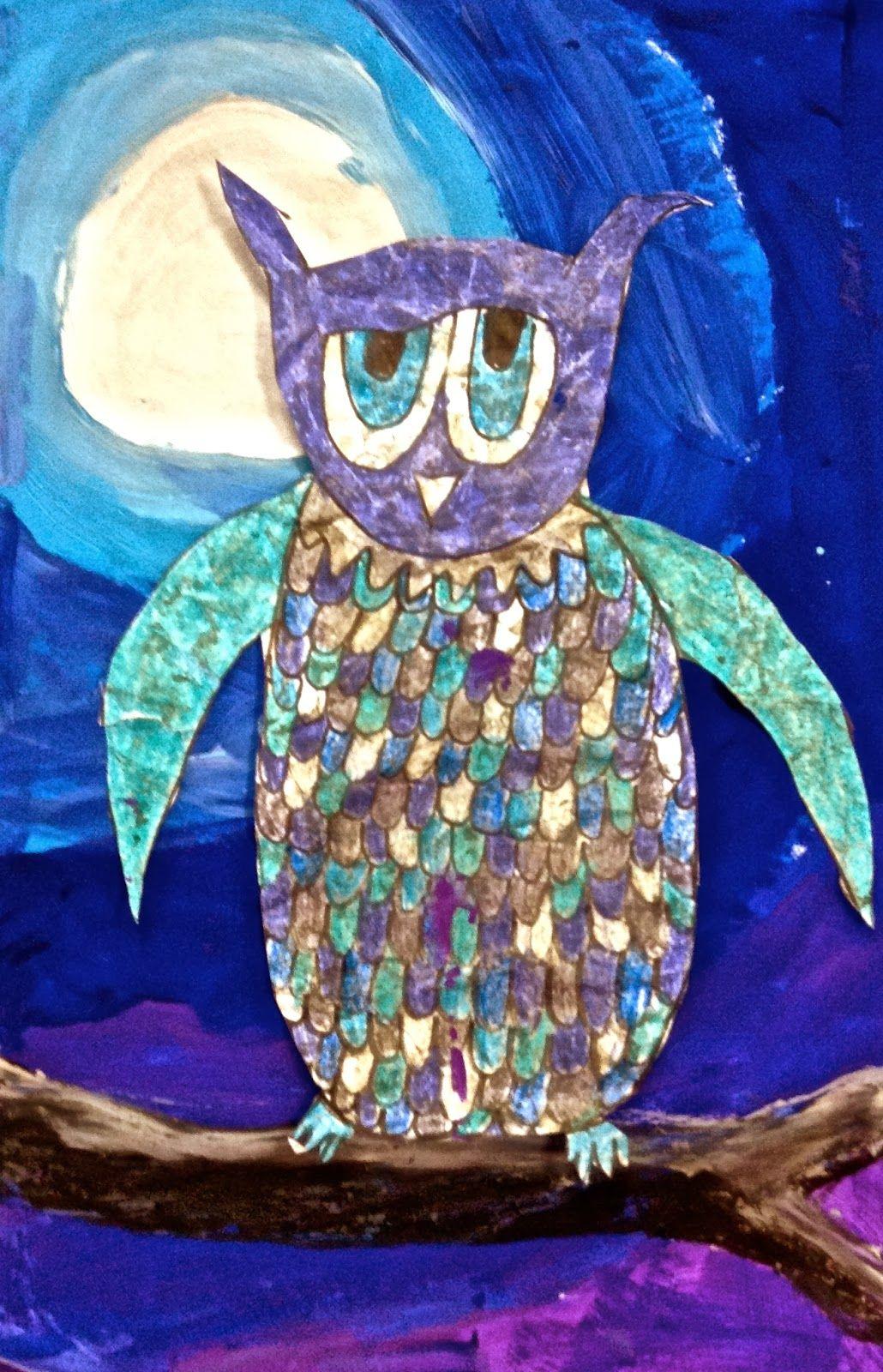 Exploring Art Elementary Art 3rd Grade Owl Batik