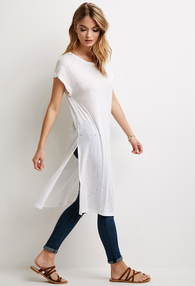 Side-Slit Distressed T-Shirt Dress  d9e44134912c