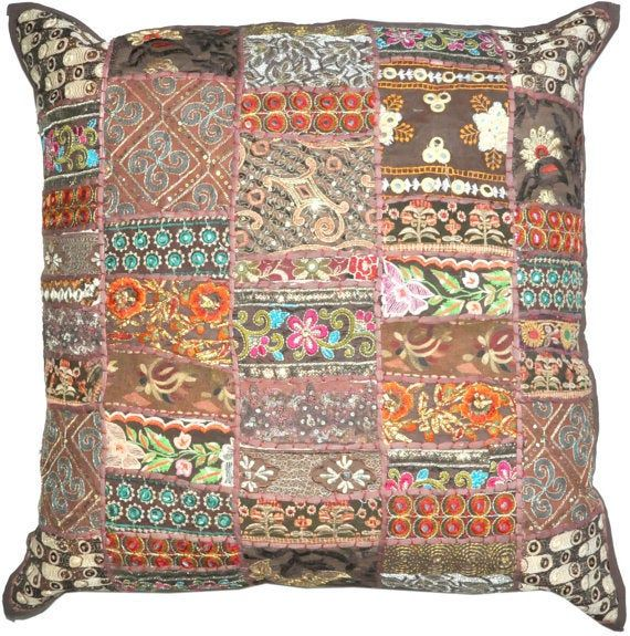 24X24 inches Indian Embroidered Pillow Case Bohemi