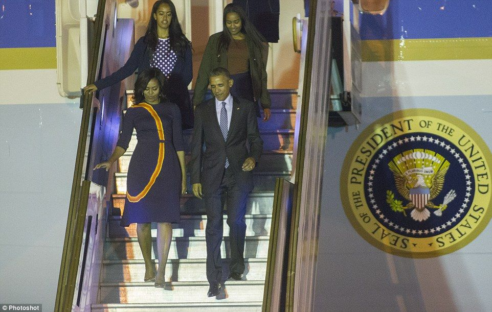The entire first family is on the trip abroad. Tomorrow they'll take a day trip to  Barilo...
