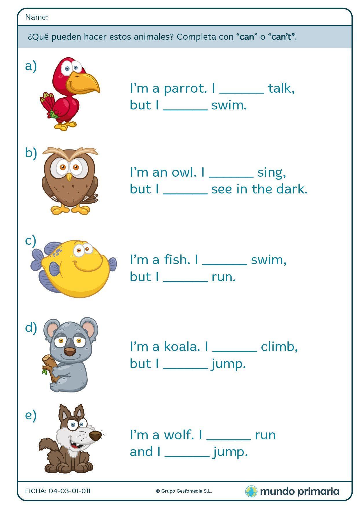 Fichas De Grammar Para 2º De Primaria Ingles Primaria