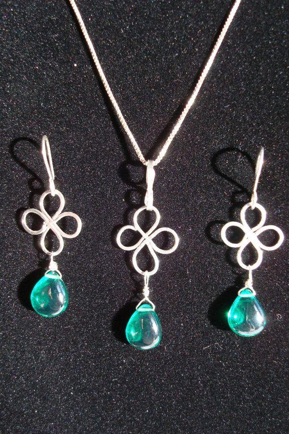 58063b057 Pendant & Earrings Set Wire Wrap Sterling by ArtfullyWrapped, $45.00 #Etsy # Celtic #Irish #Necklace #Earrings #Set #Silver #Handmade
