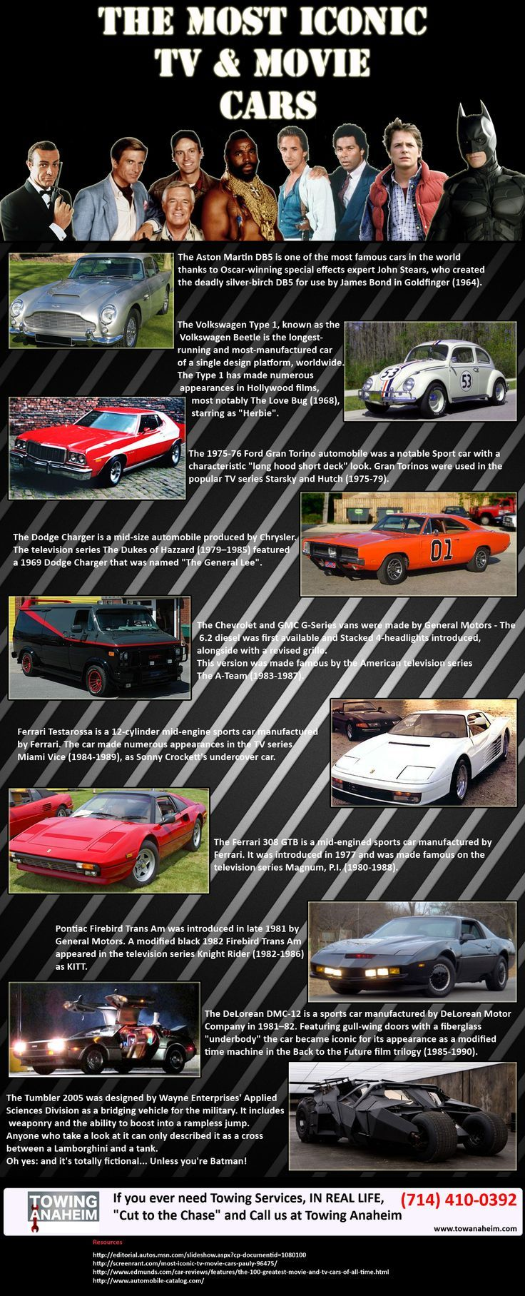 Cool Visualistan The Most Iconic TV And Movie Cars Infographic - Lightning mcqueen custom vinyl decals for cardisney pixar cars a walk down cars advertising memory lane take