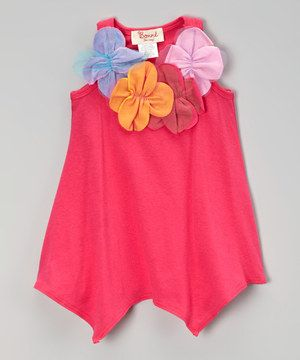 Look what I found on #zulily! Fuchsia Flower Handkerchief Dress - Infant, Toddler & Girls by Baby Nay #zulilyfinds