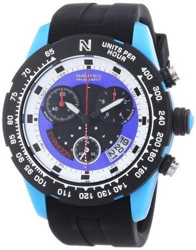 Nautec No Limit Typhoon 2 TY2 QZ/RBPCBKBL-WH - Reloj cronógrafo de cuarzo para…