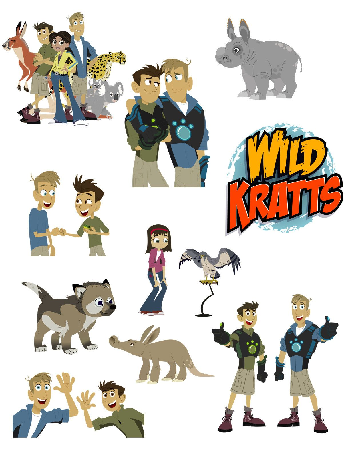 Wild Kratts Printouts Instant Download Clipart Imags Cutouts Etsy In 2020 Wild Kratts Birthday Party Wild Kratts Birthday Wild Kratts