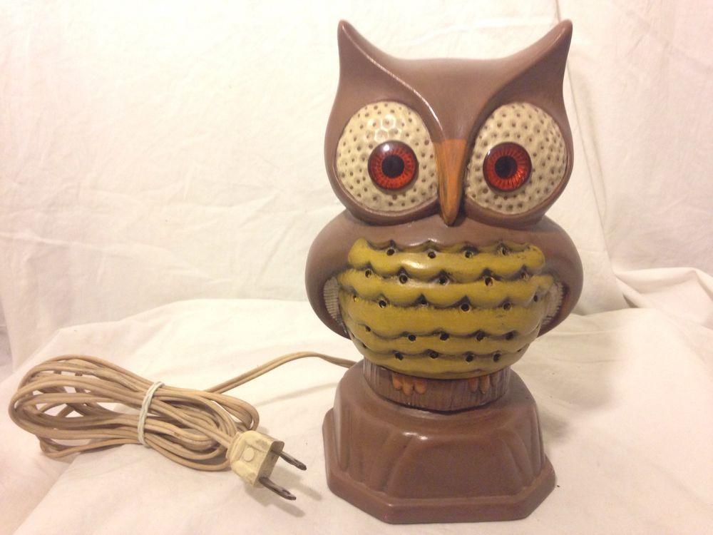VTG Mid Cent Retro Owl Night Light Table Desk Accent Lamp Ceramic