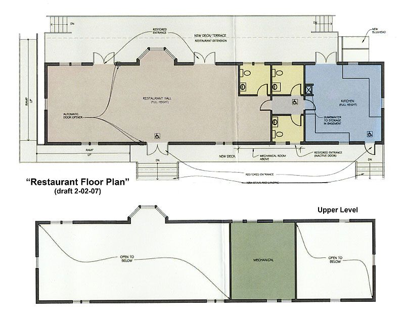 draft design of a restaurant floor plan for the bedford depot