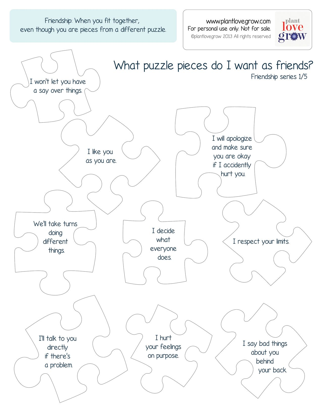 What Puzzle Peices Do I Want As Friends Help Your Child