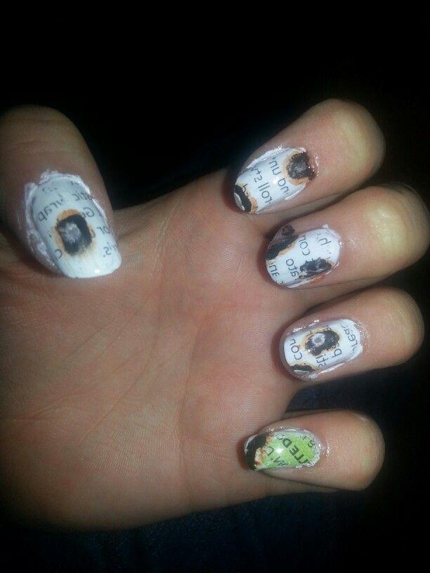 Burnt newspaper nails | my creations | Pinterest | Newspaper nails ...
