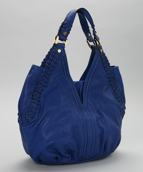 Joelle Hawkens Royal Blue Whipstitch Leather Tote