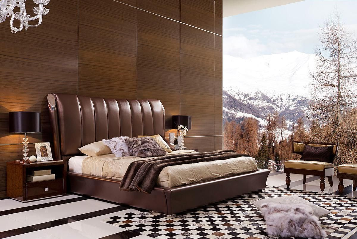 Wonderful Luxury Brown Leather Platform And Headboard Bed Austin Texas [V301A] :  Prime Classic Design