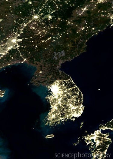 North South Korea From Space At Night Favorite Places