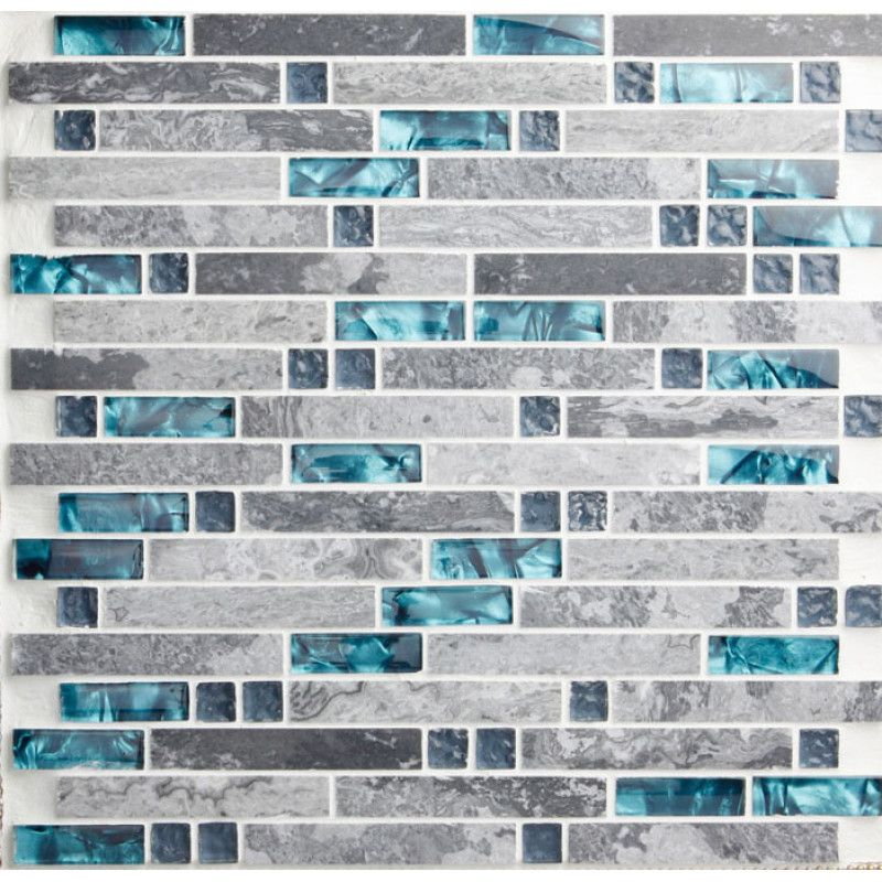Teal Blue Glass Tile Backsplash Gray Marble Strip Random Interlocking Bathroom Shower Tiles Mosaic Backsplash Kitchen Mosaic Tile Kitchen Teal Kitchen