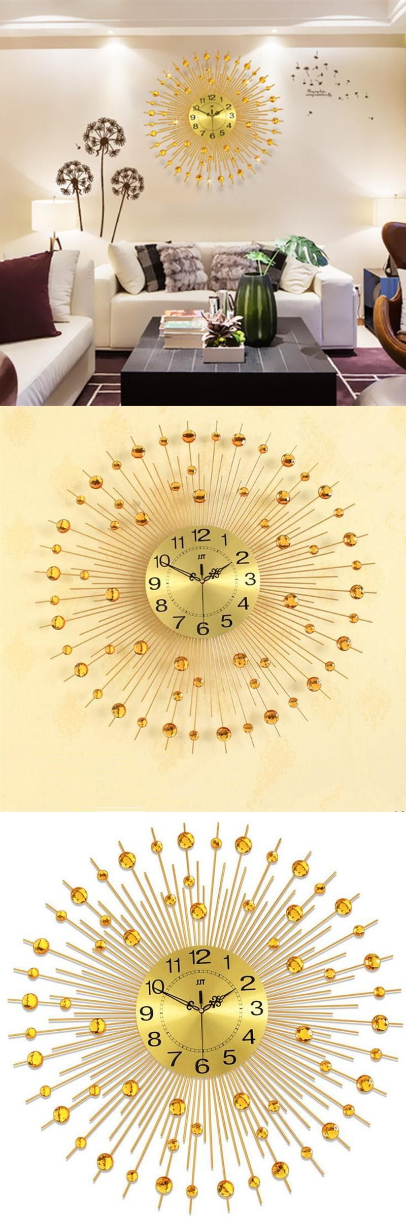 65CM Large Gold Wall Clock Fashion Art Clock Living Room Digital ...