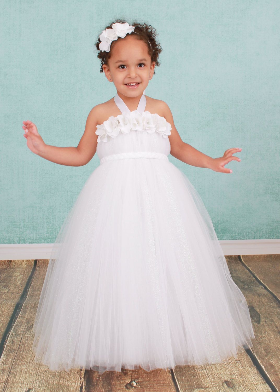 Flower Girl Tutu Dress White Star Dust by Cutiepatootiedesignz ...