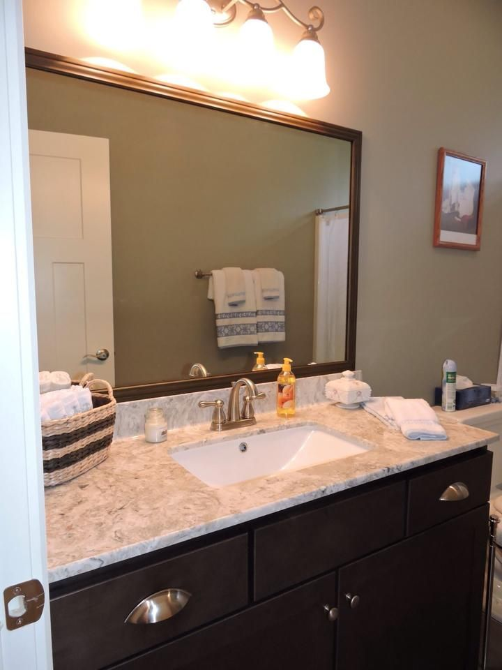 Bath   HomeCrest Cabinets, Maple Buckboard, Vanity Top Is Cultured Marble  Aruba, Undermount