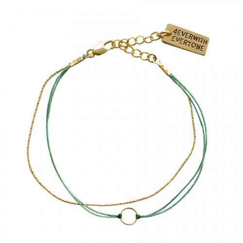 Armbandje Cirkeltje - Turquoise & Goud