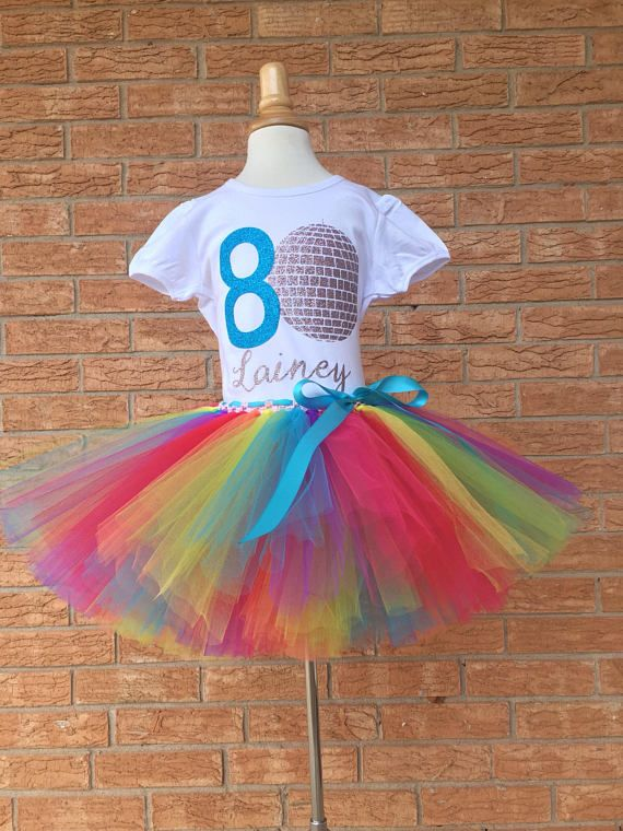 Eighth Birthday Shirt Outfit For Girls Disco 8th 8 Year Old Girl Dan