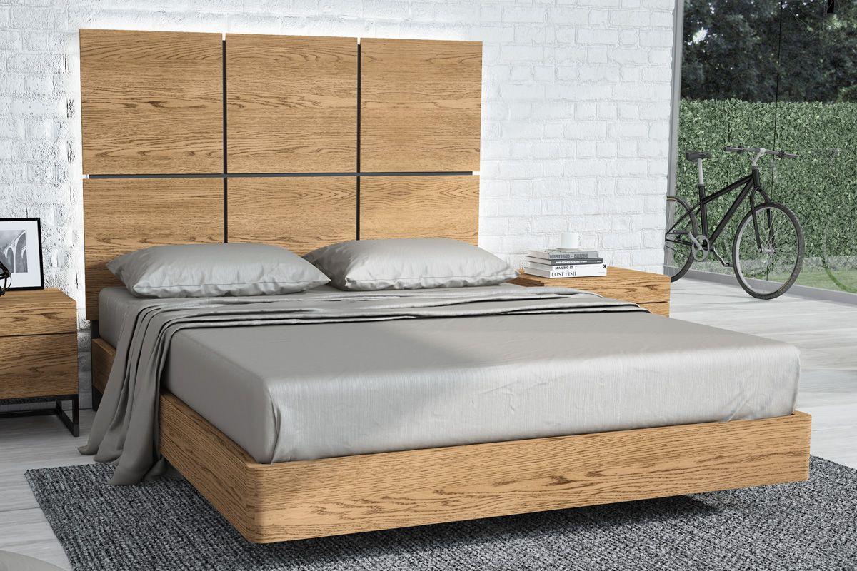 Dormitorio con cabezal Plaza. Mueble acabado en chapa natural de ...